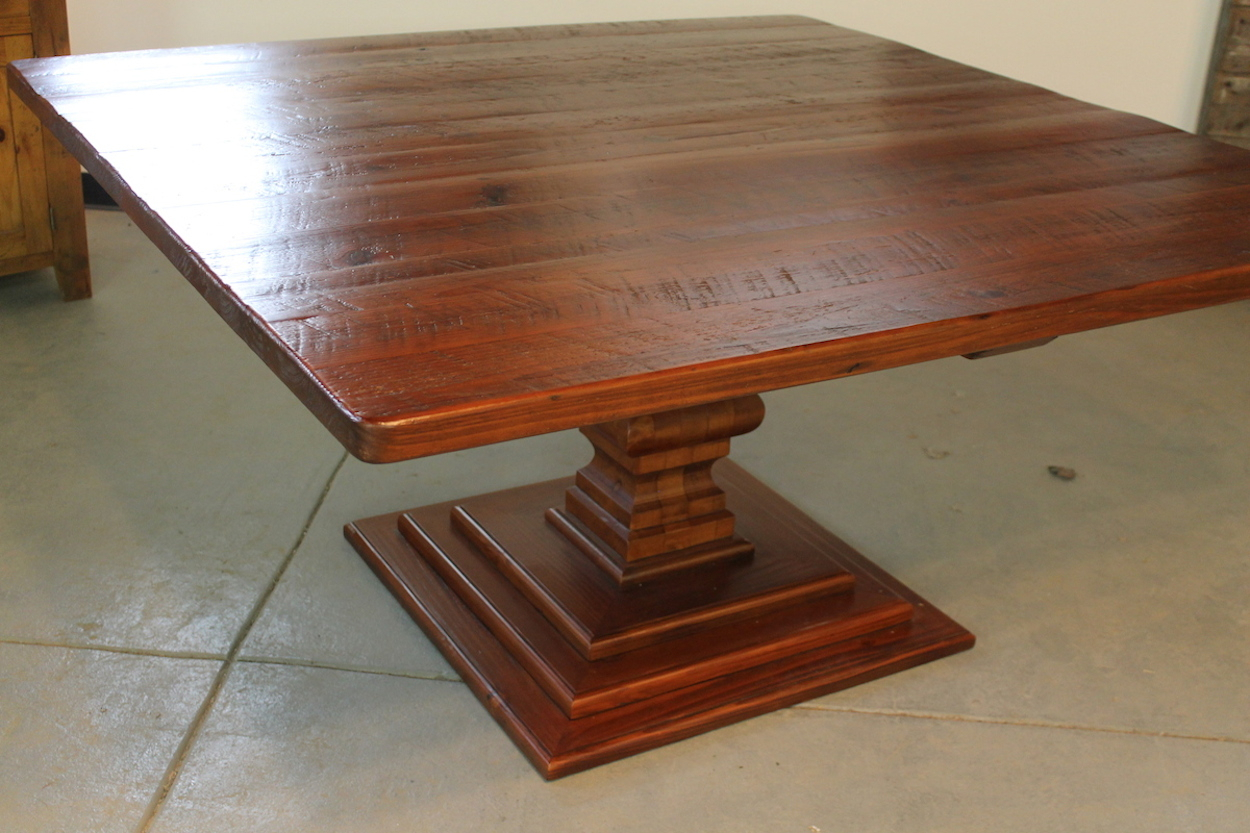 Rustic 72Inch Square Pedestal Table – Lake And Mountain Home Regarding 2018 Serrato Pedestal Dining Tables (View 5 of 15)