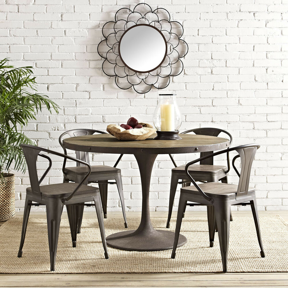 Rustic Contemporary Modern Farmhouse Wood Round Metal For 2017 Wilkesville 47'' Pedestal Dining Tables (View 2 of 15)