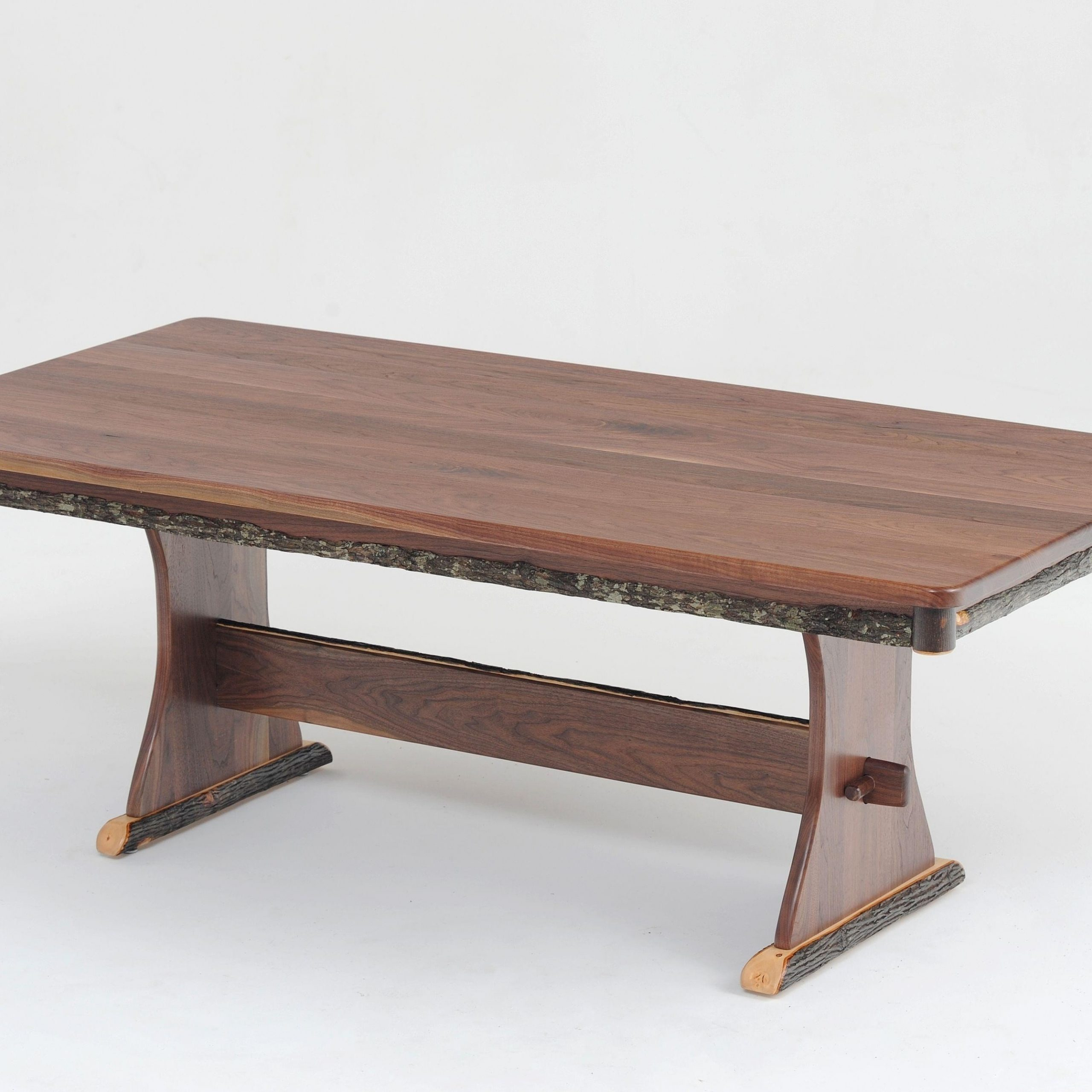 Rustic Trestle Dining Table, Log Furniture, Cabin Dinette Throughout Most Current Kara Trestle Dining Tables (View 3 of 15)
