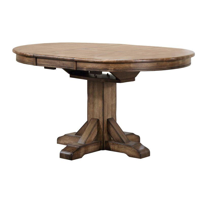 Rutledge Extendable Rubberwood Solid Wood Dining Table With Regard To Most Recently Released Boothby Drop Leaf Rubberwood Solid Wood Pedestal Dining Tables (View 4 of 15)