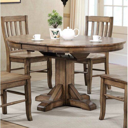 Rutledge Pedestal Extendable Solid Wood Dining Table In Most Up To Date Kohut 47'' Pedestal Dining Tables (View 15 of 15)