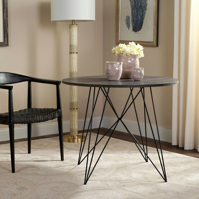 Safavieh Marino Dark Grey / Black Round Dining Table – 35 With 2017 Clennell  (View 5 of 15)