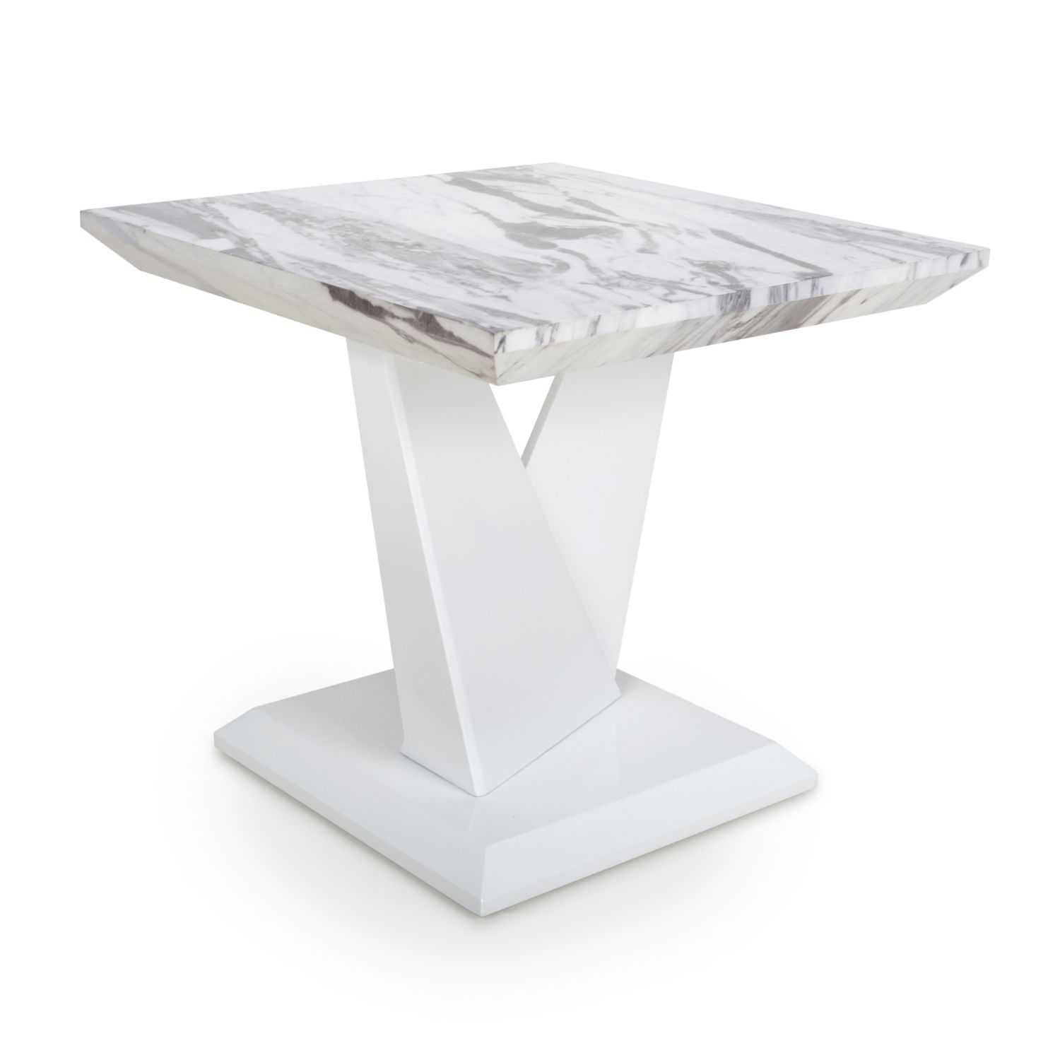Saturn Square High Gloss Grey White Effect Marble Kitchen Pertaining To Most Current Steven 55'' Pedestal Dining Tables (View 2 of 15)