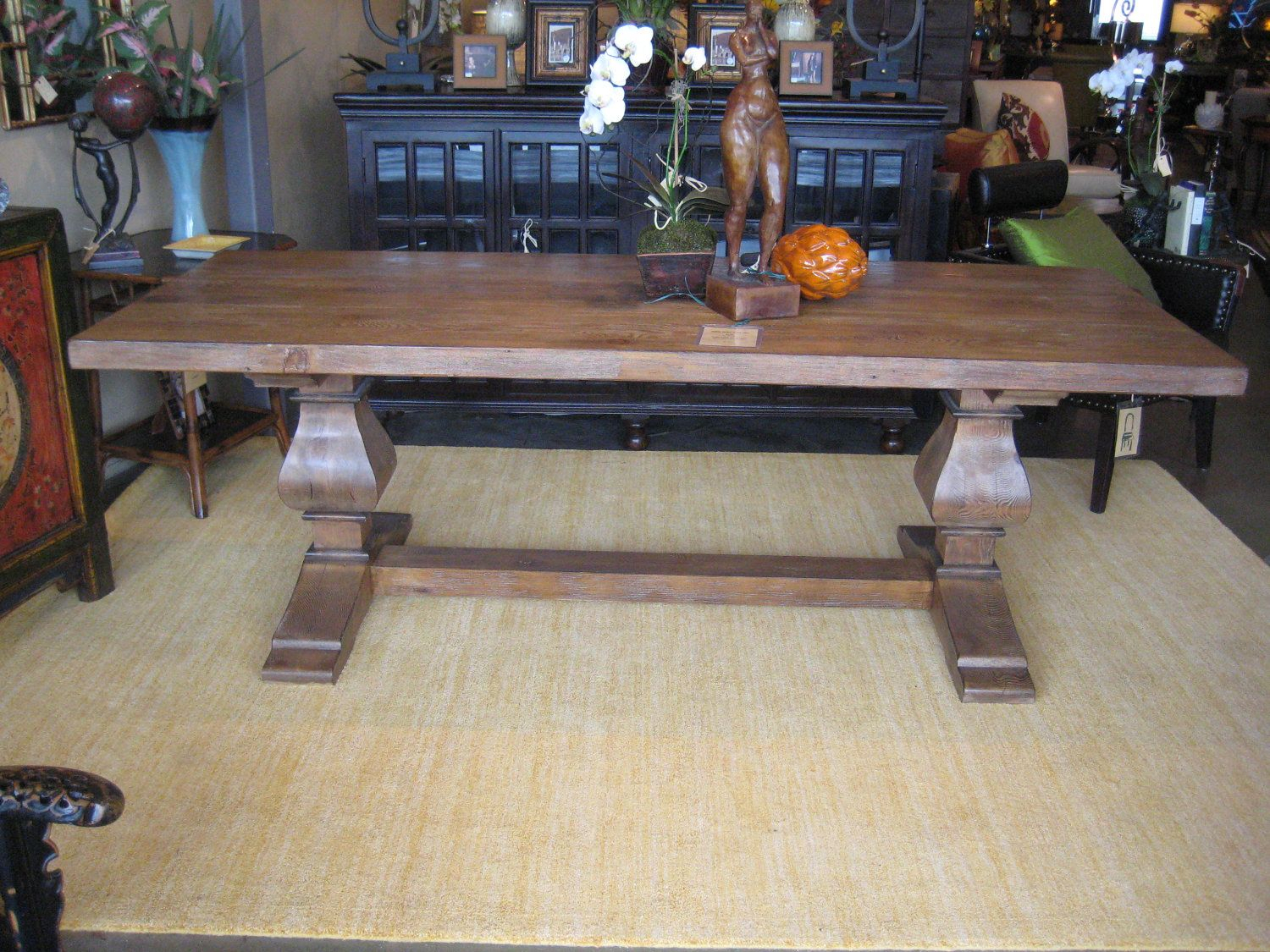 Segovia – Rectangular Recycled Douglas Fir Custom Trestle In Current Alexxes 38'' Trestle Dining Tables (View 9 of 15)