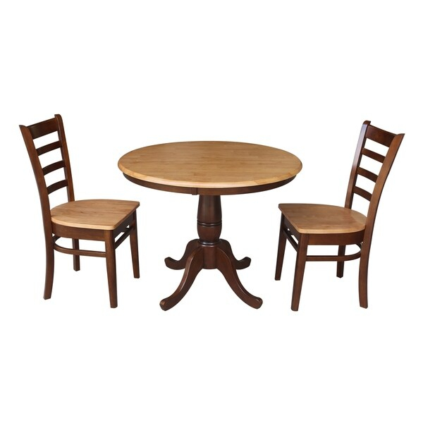 """Shop 36"""" Round Pedestal Dining Table With 2 Emily Chairs Within Most Popular Canalou 46'' Pedestal Dining Tables (View 5 of 15)"""