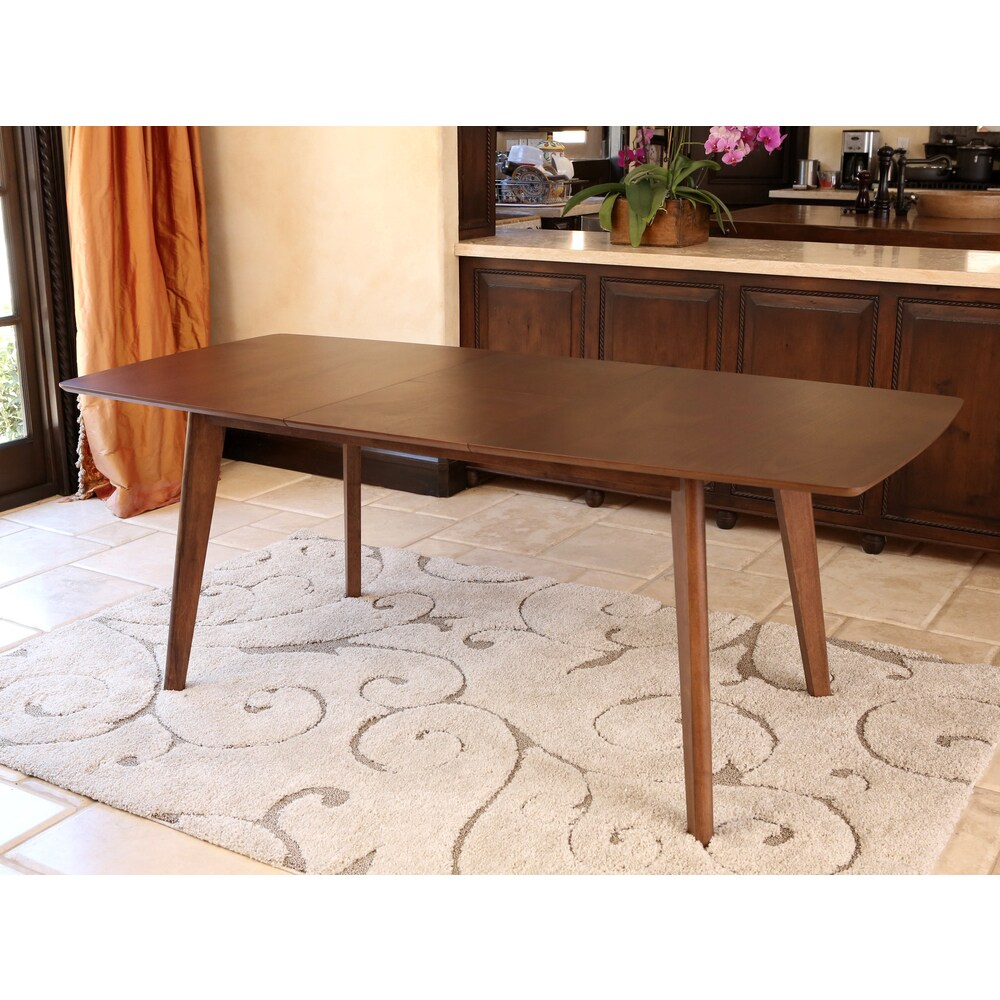 Shop Abbyson Living Leonis Walnut Wood Expandable Dining For Recent Rhiannon Poplar Solid Wood Dining Tables (View 13 of 15)