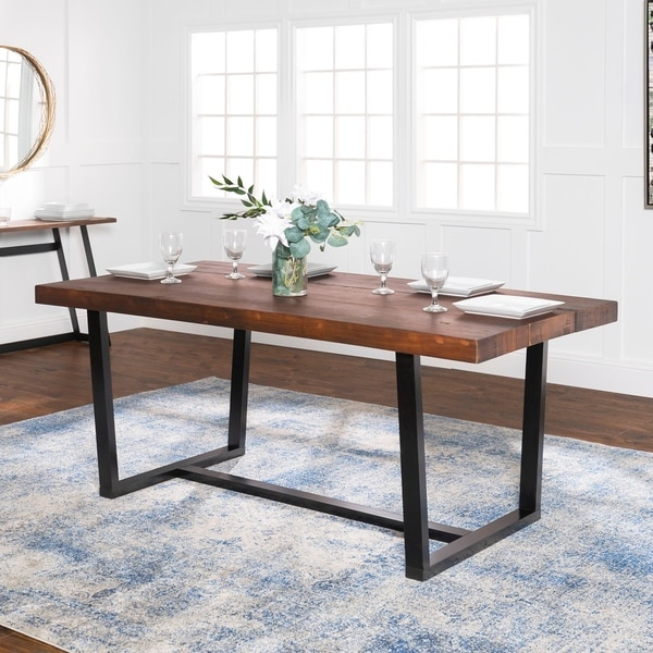 Shop Rustic Farmhouse Distressed Solid Wood Dining Table Throughout 2017 Keown 43'' Solid Wood Dining Tables (View 4 of 15)