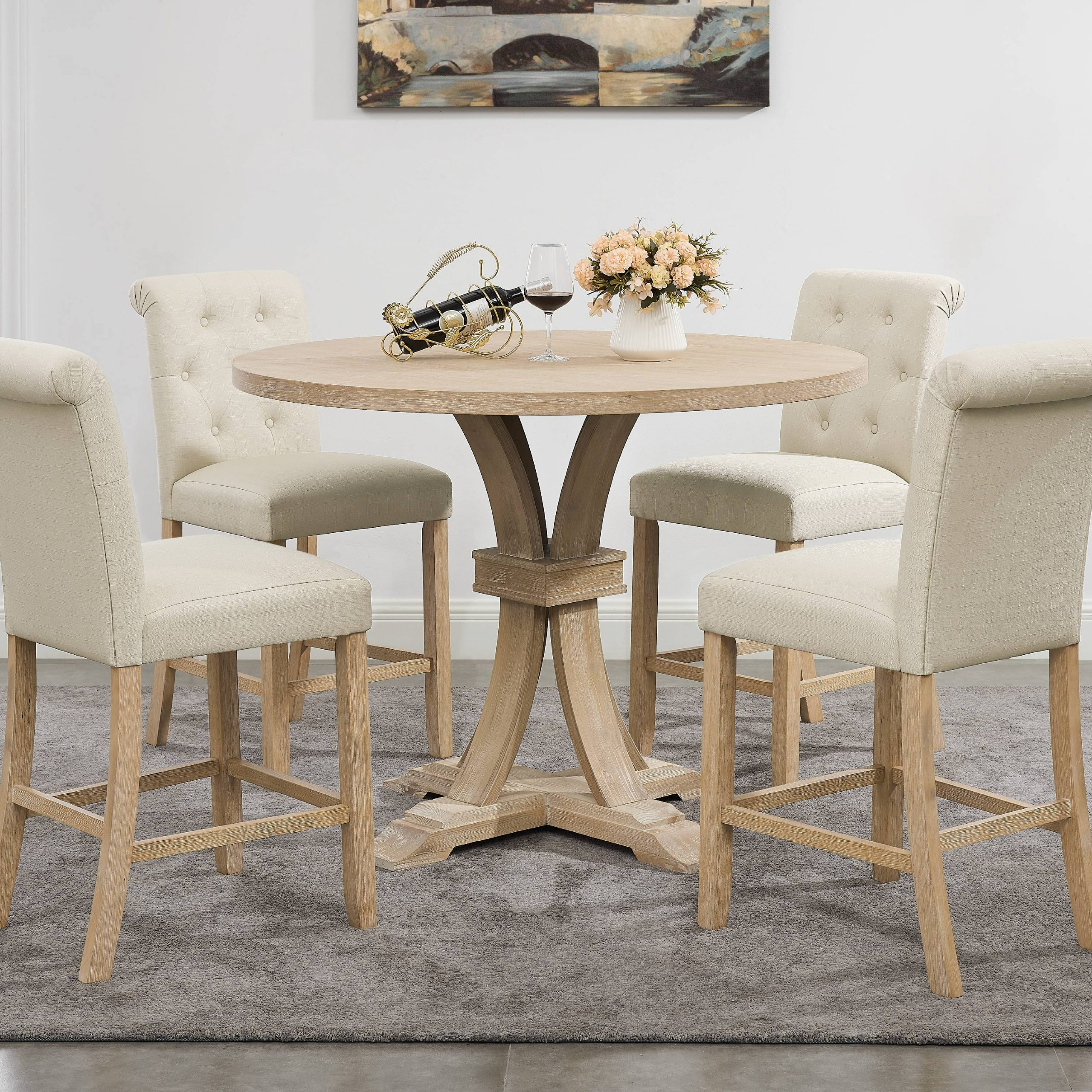 Siena White Washed Finished 5 Piece Counter Height Dining Regarding 2017 Andreniki Bar Height Pedestal Dining Tables (View 4 of 15)