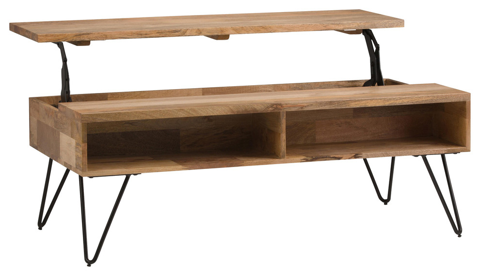 """Simpli Home Hunter Solid Wood 48"""" Rectangle Lift Top With Most Recent Drift  (View 7 of 15)"""