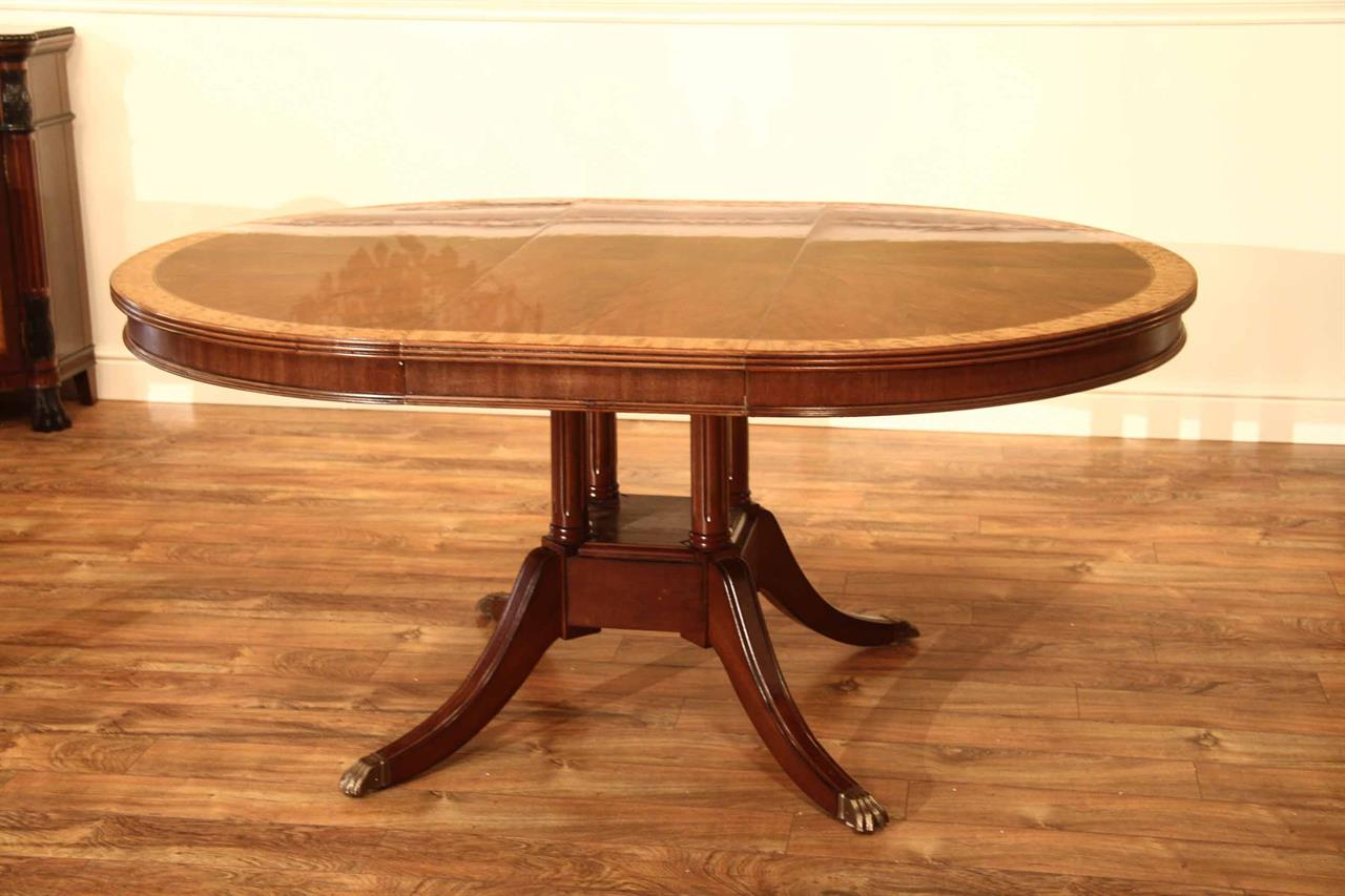 Small 48 Inch Round Mahogany Pedestal Dining Table With Leaf Regarding Most Popular Exeter 48'' Pedestal Dining Tables (View 12 of 15)