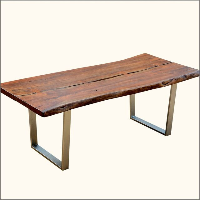 """Solid Acacia Modern Rustic 82"""" Large Slab Loft Live Edge Intended For 2018 Folcroft Acacia Solid Wood Dining Tables (View 3 of 15)"""