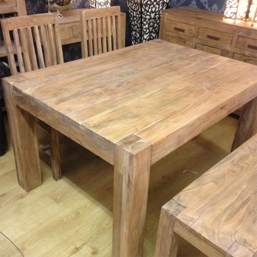 Solid Acacia Wood Rustic Dining Table With Regard To Most Recent Folcroft Acacia Solid Wood Dining Tables (View 14 of 15)