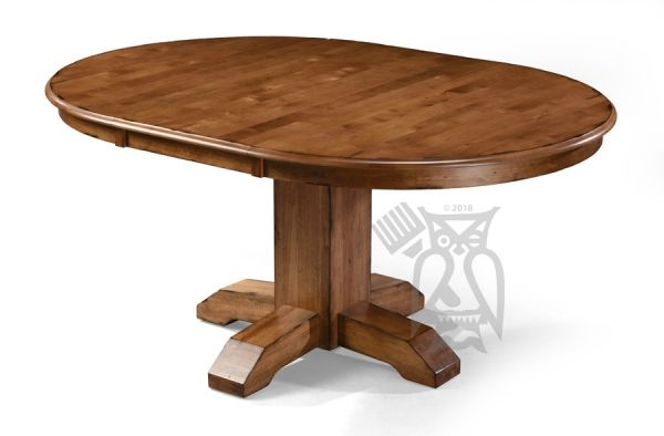 """Solid Birch Wood Bennett 48"""" Round Extension Table In Regarding Best And Newest Monogram 48'' Solid Oak Pedestal Dining Tables (View 12 of 15)"""