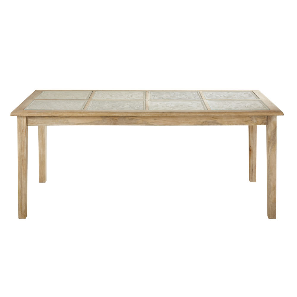 Solid Mango Wood And Glass 8 Seater Dining Table W190 Pertaining To 2017 Carelton 36'' Mango Solid Wood Trestle Dining Tables (View 4 of 15)