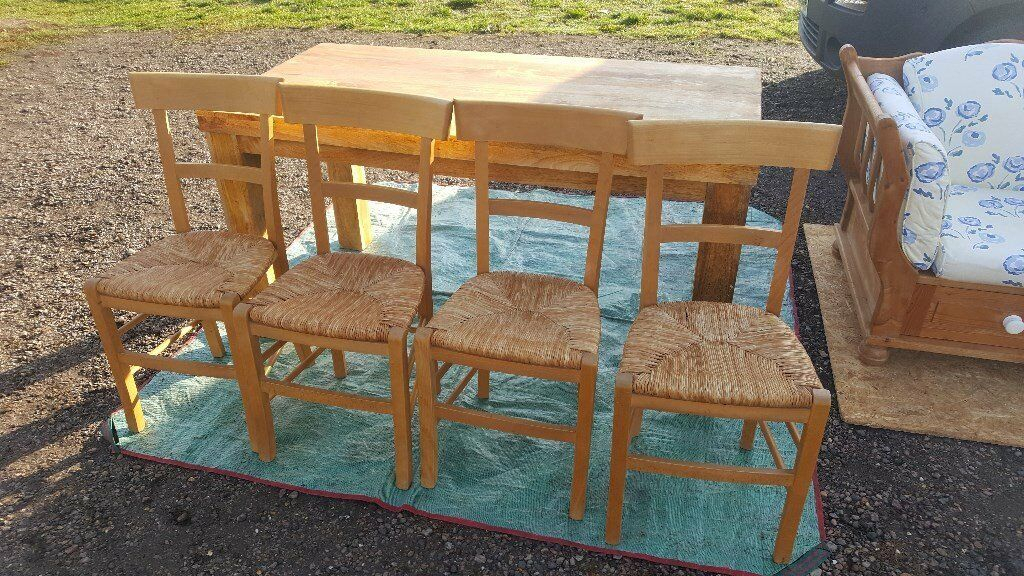 Solid Oak Table And Four Chairs | In Milton Keynes Intended For Most Popular Milton Drop Leaf Dining Tables (View 12 of 15)