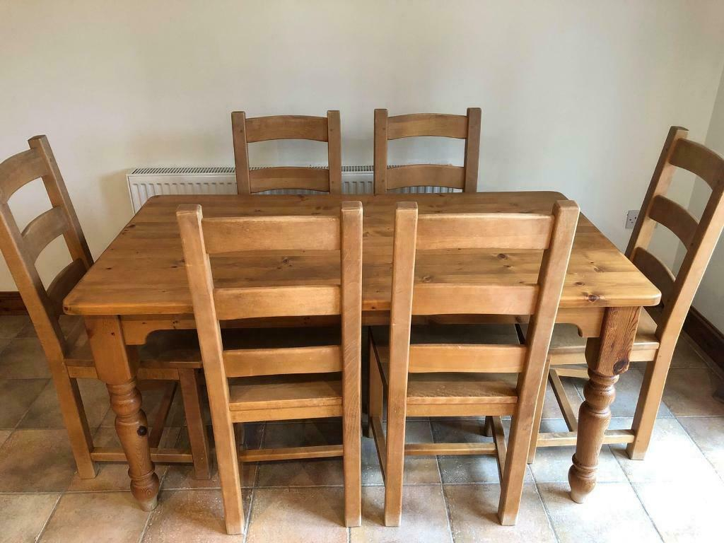 Solid Pine Dining Table And 6 Chairs, In Very Good Inside Most Up To Date Febe Pine Solid Wood Dining Tables (View 14 of 15)