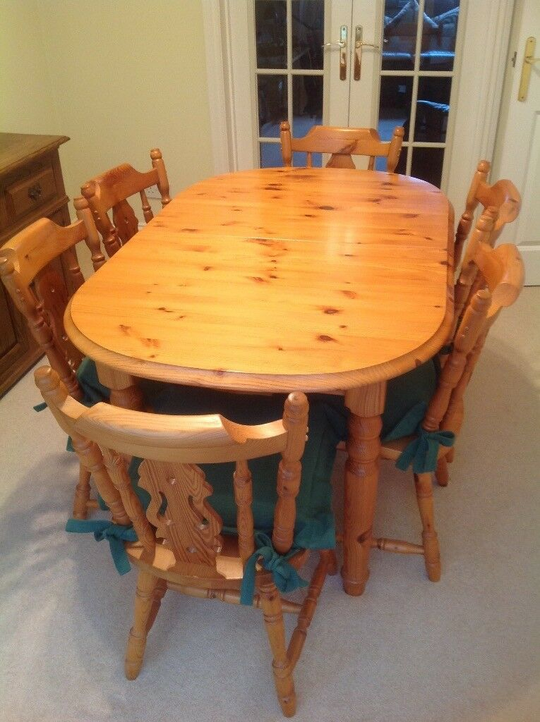 Solid Pine Dining Table And Six Matching Chairs | In With 2018 Febe Pine Solid Wood Dining Tables (View 5 of 15)