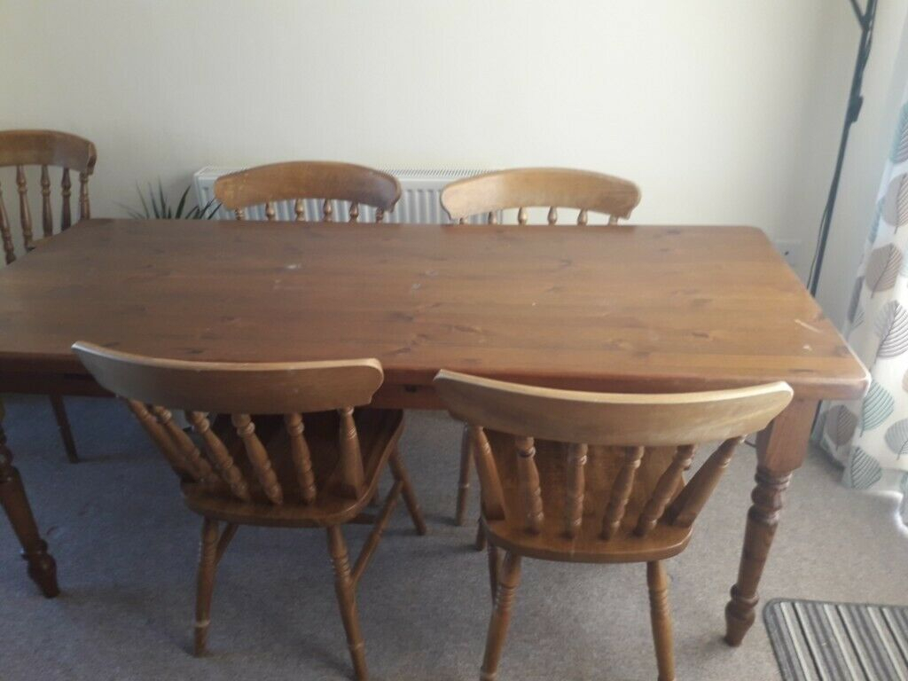 Solid Pine Dining Table With 2 Solid Oak Carver Chairs And Intended For Most Recently Released Reagan Pine Solid Wood Dining Tables (View 2 of 15)