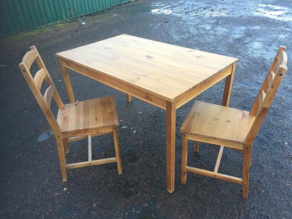 Solid Pine Dining Table With Two Pine Dining Chairs | In Inside Newest Febe Pine Solid Wood Dining Tables (View 12 of 15)