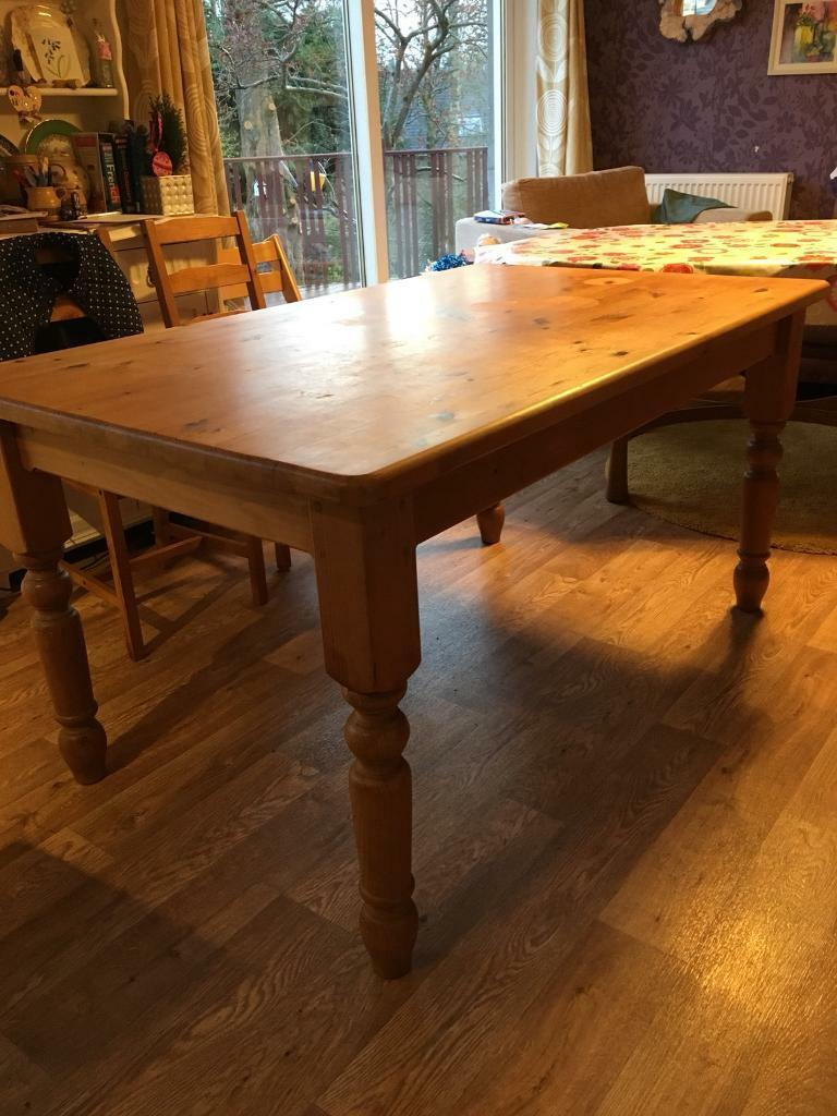Solid Pine Farmhouse Kitchen Dining Table | In Dunblane With Most Up To Date Febe Pine Solid Wood Dining Tables (View 4 of 15)