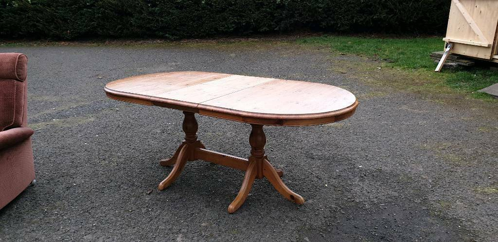Solid Pine Oval Extendable Dining Table | In Dunfermline Regarding Most Up To Date Febe Pine Solid Wood Dining Tables (View 15 of 15)