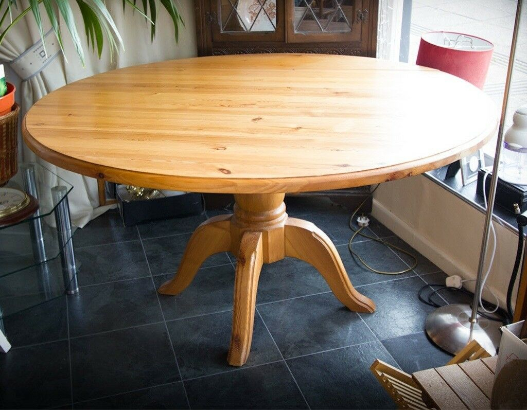Solid Pine Round Extending Drop Leaf Dining Table   In With Regard To Most Recent Reagan Pine Solid Wood Dining Tables (View 3 of 15)
