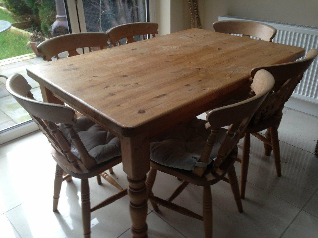 Solid Pine Wood Dining Table And 6 Chairs | In Penwortham With Regard To Most Recently Released Febe Pine Solid Wood Dining Tables (View 2 of 15)
