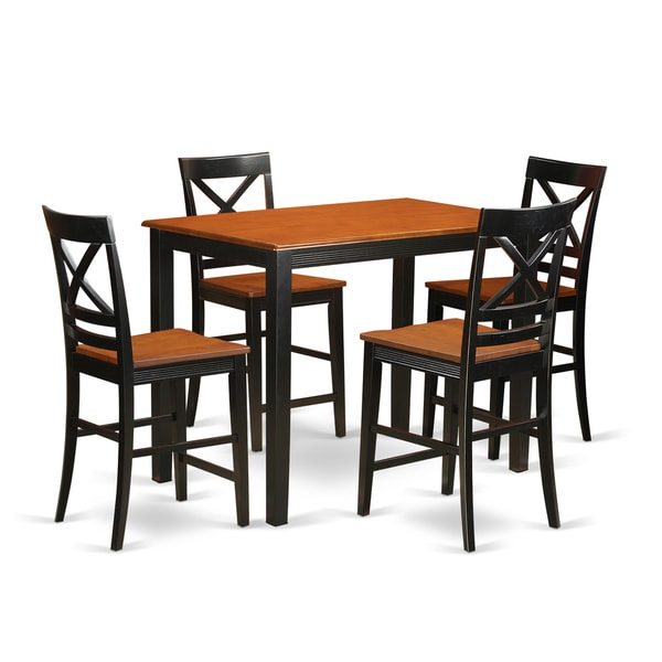 Solid Rubberwood 5 Piece Counter Height Dining Table Set With Most Popular Wes Counter Height Rubberwood Solid Wood Dining Tables (View 5 of 15)