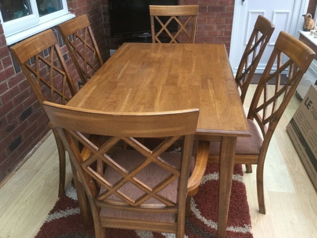 Solid Wood Dining Table And 6 Chairs | In New Milton With Most Current Milton Drop Leaf Dining Tables (View 9 of 15)