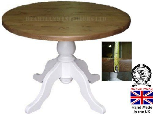 """Solid Wood Table; 3Ft 6"""" Diameter White Painted & Waxed With Recent Finkelstein Pine Solid Wood Pedestal Dining Tables (Photo 4 of 15)"""