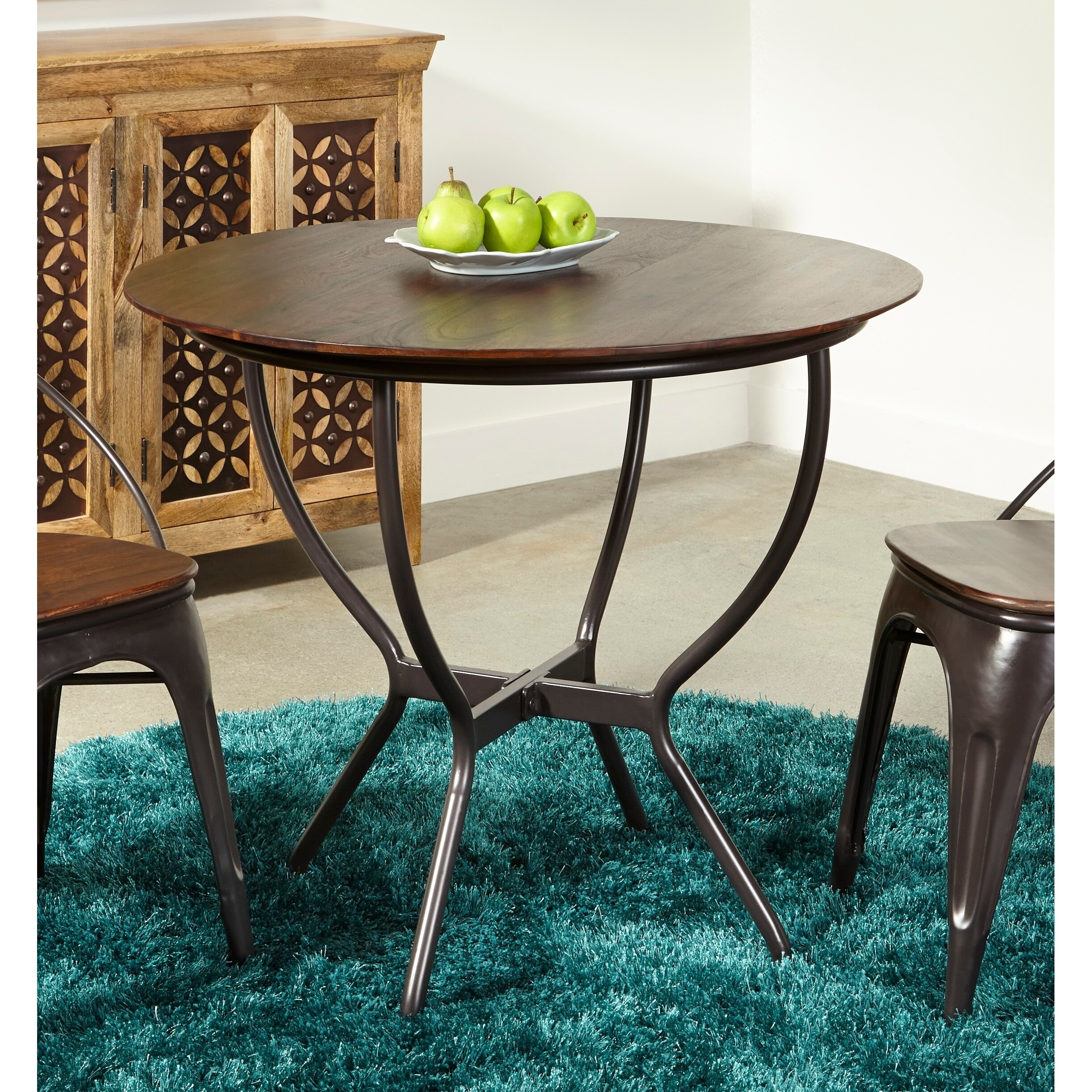 Somette Sheesham Wood And Iron Round Dining Table – Brown In Most Current Carelton 36'' Mango Solid Wood Trestle Dining Tables (Photo 11 of 15)