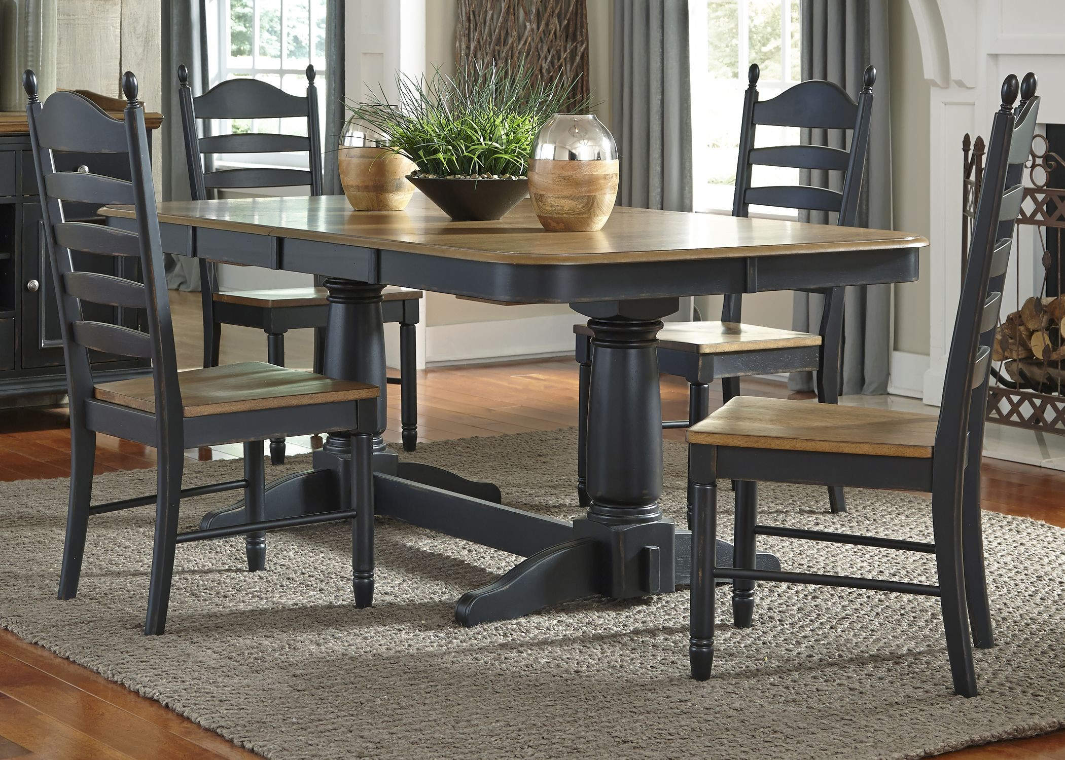 Springfield Ii Honey And Black Extendable Double Pedestal Regarding 2017 47'' Pedestal Dining Tables (View 3 of 15)