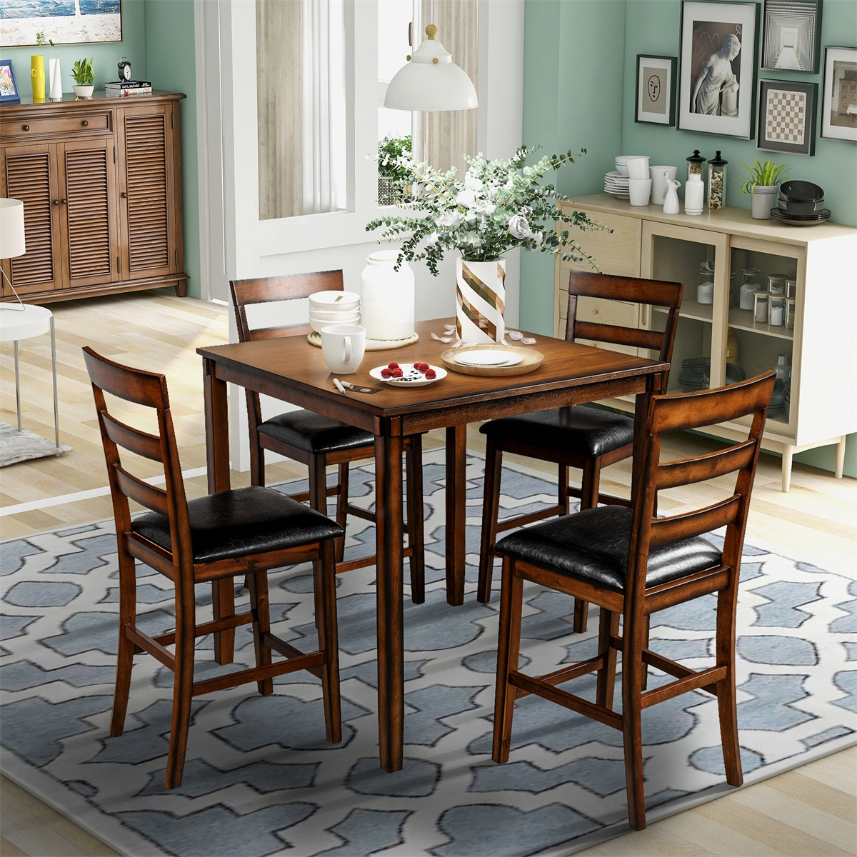 Square Counter Height Wooden Kitchen Dining Set, Dining In Latest Eleni 35'' Dining Tables (View 5 of 15)