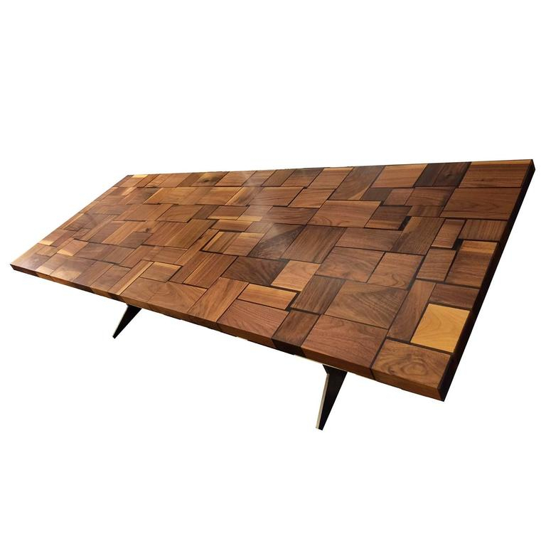 Square Wood Table Squared Blocks Of Solid Wood Processed With Most Recently Released Cammack (View 4 of 15)