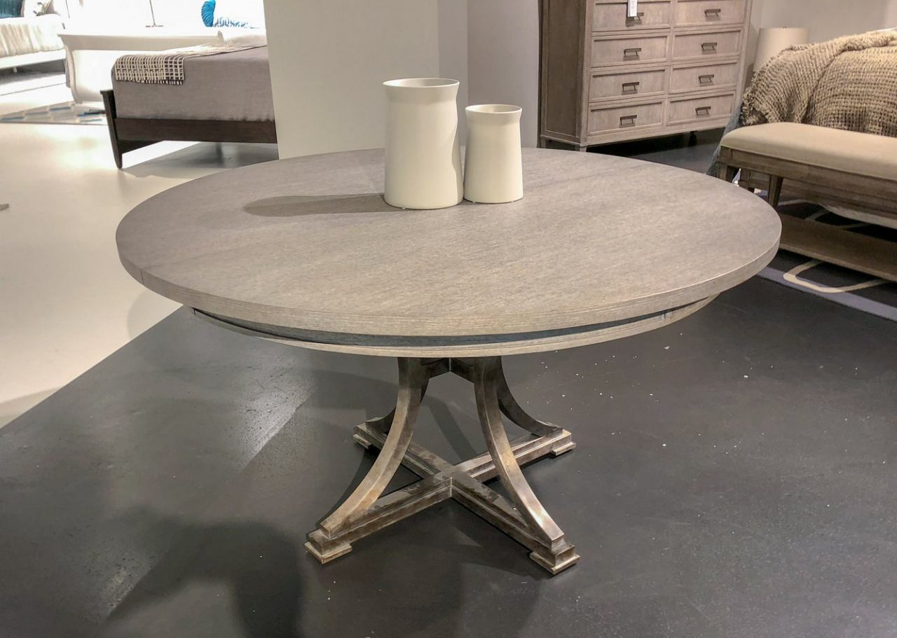 """Stanley Willow 54"""" Round Dining Table In Pewter 821 E1 31 Intended For Newest 49'' Dining Tables (View 9 of 15)"""