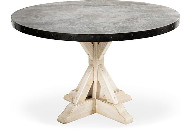 """Steel Round Table W/ Whitewashed Wood Trestle Base 48""""Dx30 Within Most Recently Released Leonila 48'' Trestle Dining Tables (View 15 of 15)"""