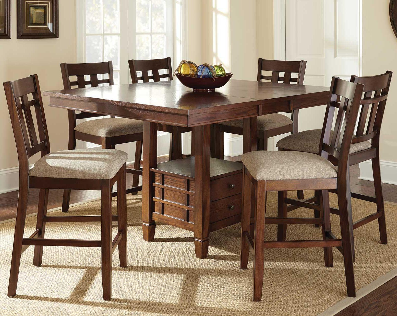 Steve Silver Bolton 7 Piece Counter Height Dining Set With Inside Current Romriell Bar Height Trestle Dining Tables (View 10 of 15)