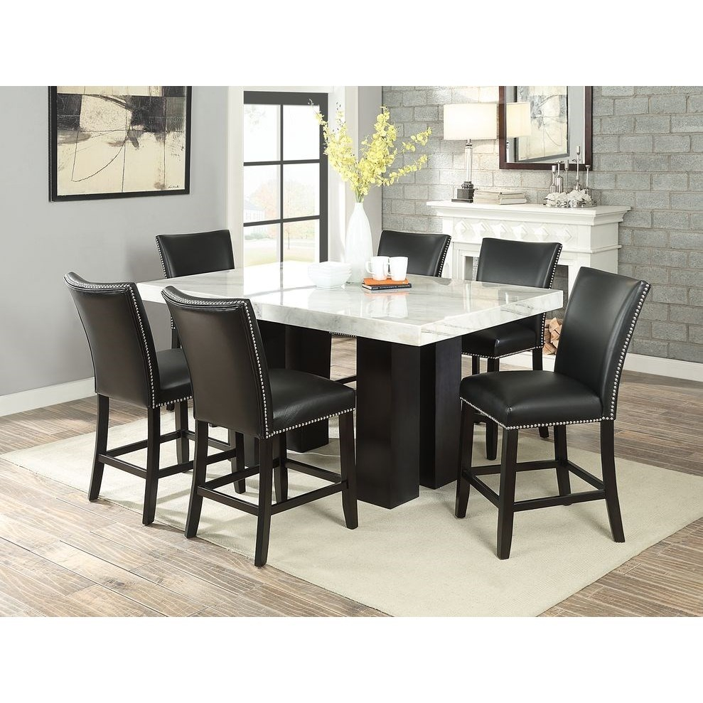 Steve Silver Camila Rectangular White Marble Counter Pertaining To Latest Desloge Counter Height Trestle Dining Tables (View 13 of 15)