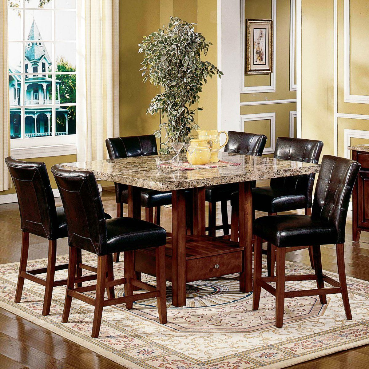 Steve Silver Montibello 7 Piece Marble Top Counter Height Pertaining To Most Popular Hearne Counter Height Dining Tables (View 7 of 15)