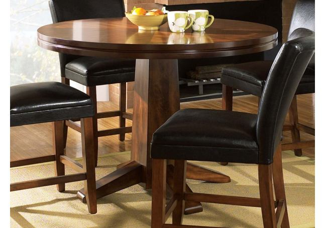 Steve Silver Serena Pedestal Round Counter Height Table In In Most Recently Released Andrelle Bar Height Pedestal Dining Tables (Photo 6 of 15)