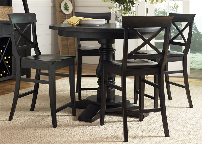Sundance Lake Round Pedestal Counter Height Table 5 Piece Throughout Recent Jazmin Pedestal Dining Tables (View 15 of 15)