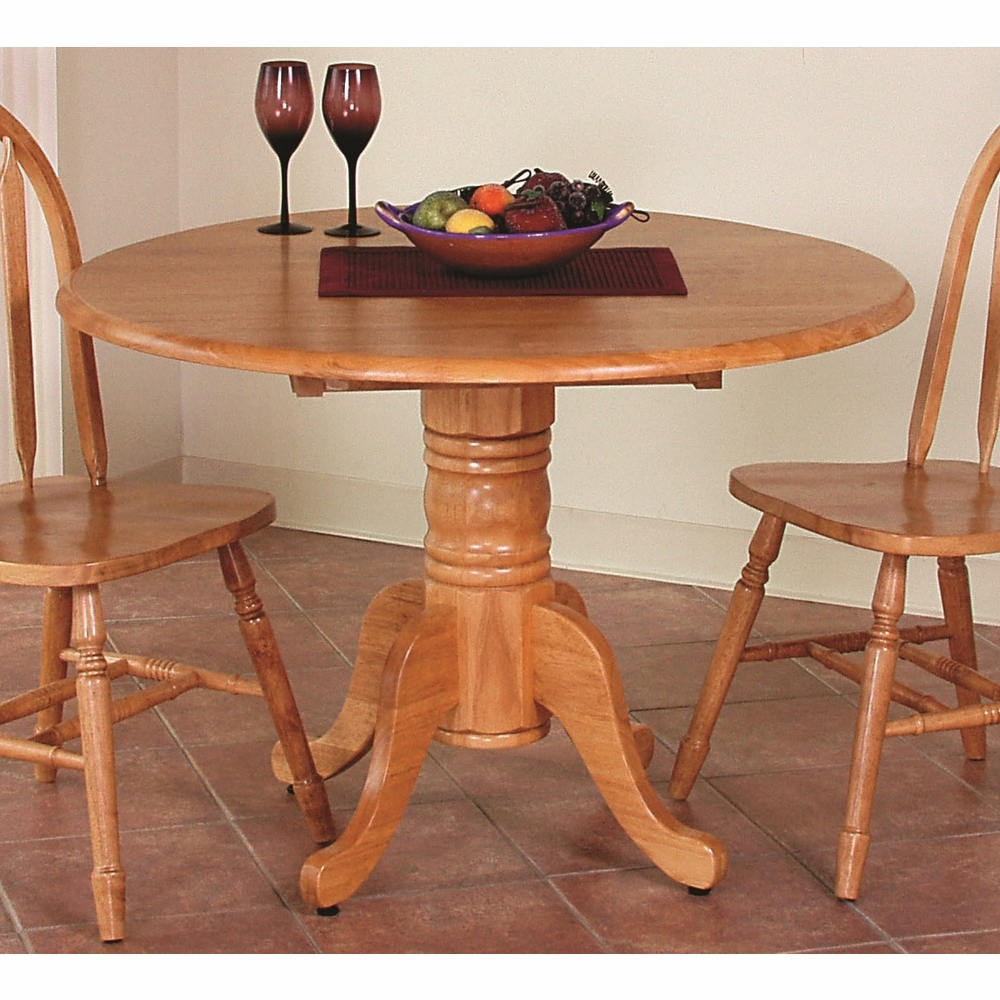 Sunset Trading – Round Drop Leaf Dining Table In Light Oak Pertaining To Most Recently Released Adams Drop Leaf Trestle Dining Tables (View 5 of 15)