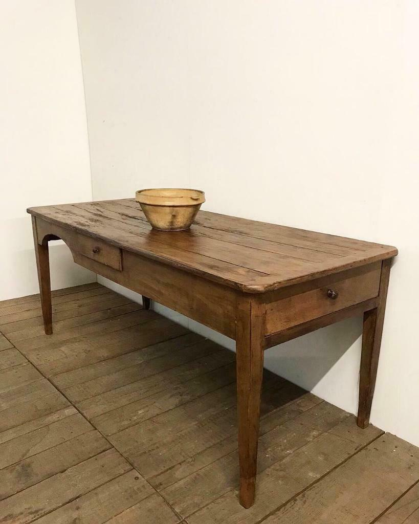 Superb Antique French Farmhouse Kitchen Dining Table | In Inside Latest Milton Drop Leaf Dining Tables (View 8 of 15)