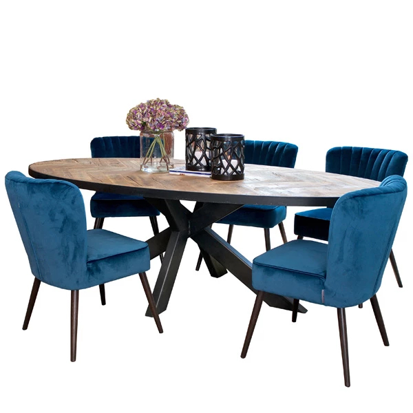 Sussex Oak Parquet Industrial Oval Dining Table In 2020 Inside Most Current Keown 43'' Solid Wood Dining Tables (View 11 of 15)