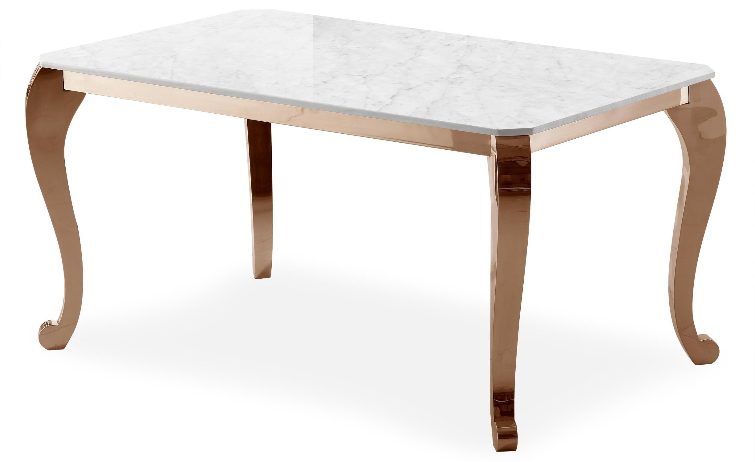 """Table À Manger Marbre Et Pieds Métal Rose Doré Padmore Regarding Newest Mode 72"""" L Breakroom Tables (View 13 of 15)"""