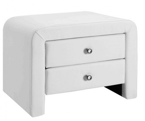 """Table De Chevet 2 Tiroirs Simili Cuir Blanc Sleepa Intended For Most Recently Released Mode 72"""" L Breakroom Tables (View 2 of 15)"""