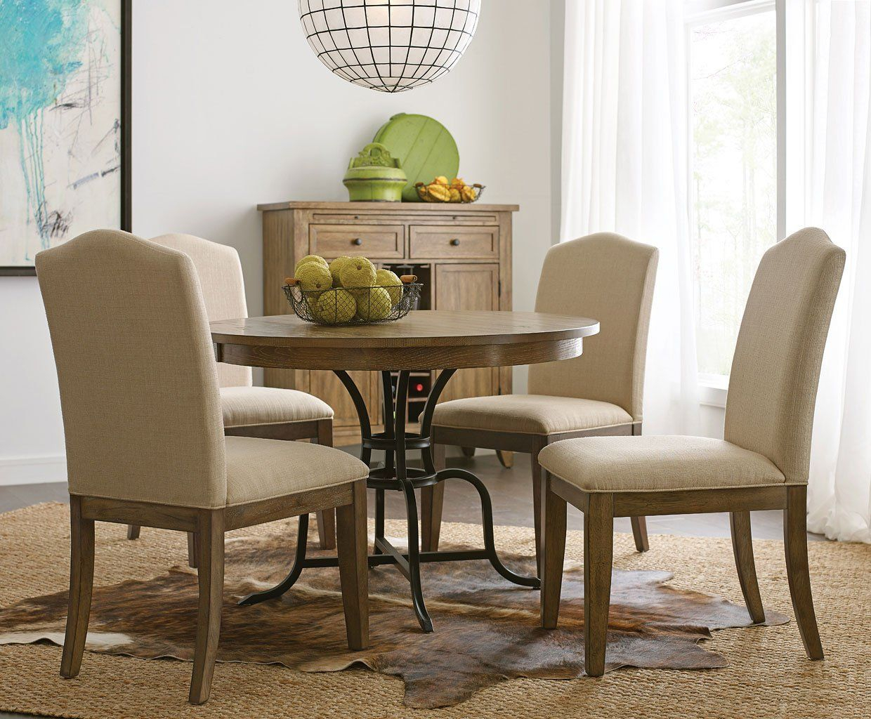 The Nook 54 Inch Round Metal Dining Room Set (Oak) | Solid Within Newest 49'' Dining Tables (View 8 of 15)