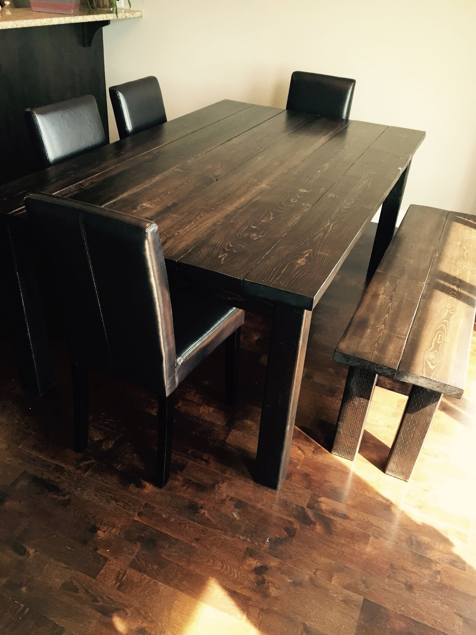 The Table & Bench I Built For My Mom!! I Used Varathane'S Pertaining To Most Current Edmondson Dining Tables (View 14 of 15)