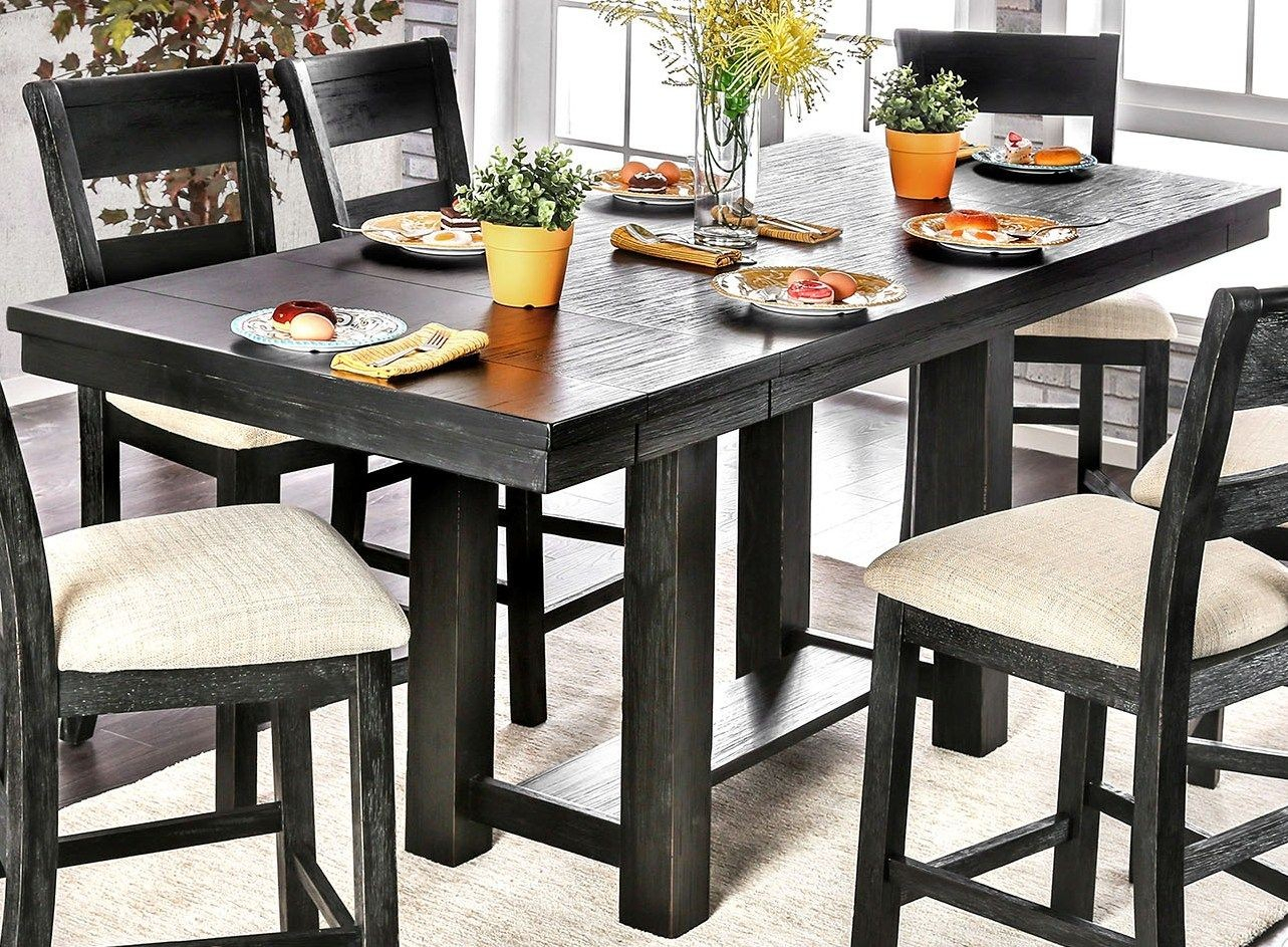 Thomaston Brushed Black Counter Height Dining Table From With Regard To Most Recently Released Romriell Bar Height Trestle Dining Tables (View 8 of 15)