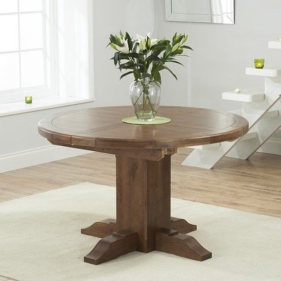 Tor Round Extending Dining Table In Dark Oak | Elegant Throughout Recent Eleni 35'' Dining Tables (View 12 of 15)